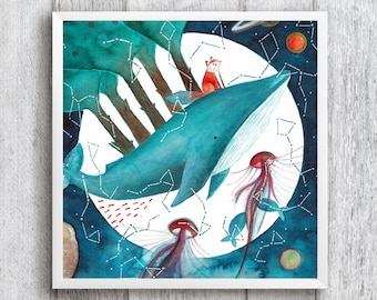 Magical galaxy painting, original whale art, watercolor galaxy painting, magical painting , magical whale art, galaxy lovers, whale art