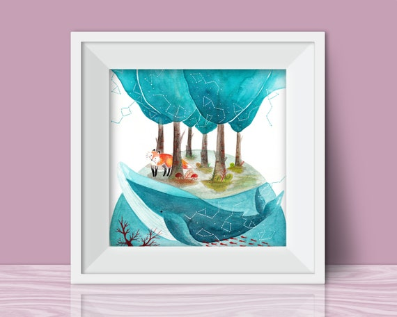 Whale Nursery Art Print Woodland Nursery Prints Handmade Etsy