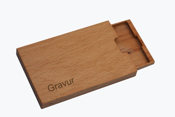 Business Card Case Wood Beech Mod 6