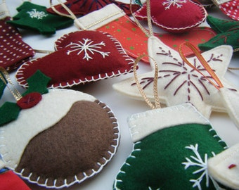 Felt Christmas Decorations, Choice of 6 Christmas Decorations, Felt Christmas Ornaments