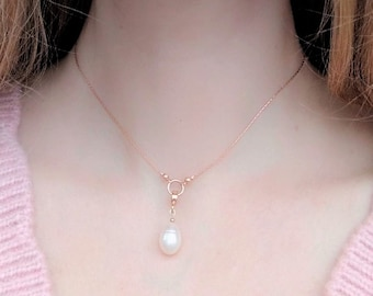 Rose gold dainty necklace, freshwater pearl drop necklace, romantic wedding rose gold necklace, grace