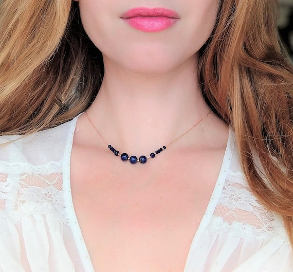 Beaded Necklace,Handmade Necklace,Gift for Her,Womens Jewelry,Gemstone Necklace,Blue Necklace,Lapis Necklace,Womens Fashion,Summer Necklace