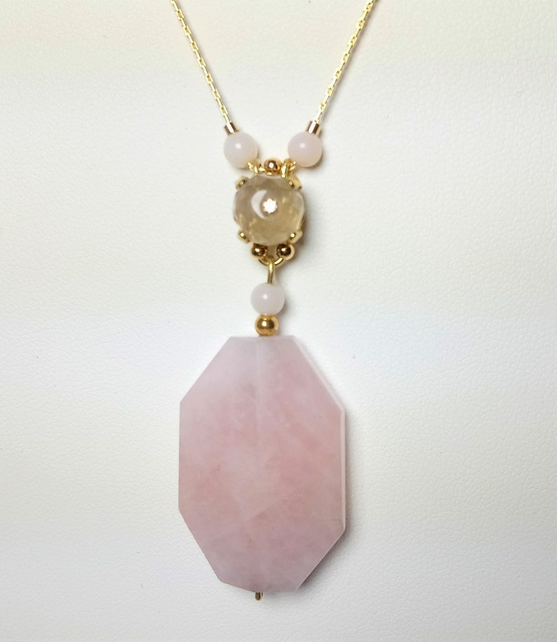 Birthstone Crystal Pendant Rose Quartz Necklace Lovely Gift for Her Beaded Necklace Gemstone Dainty Necklace Delicate Necklace