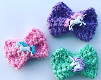 Unicorn Bows (crochet bow, hair clips, headband, pigtail clips, hair bows, baby, toddler, children's