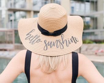 e93fc17e Hello Sunshine EMBROIDERED Floppy Beach Hat // Bachelorette Trip // Beach  Weekend