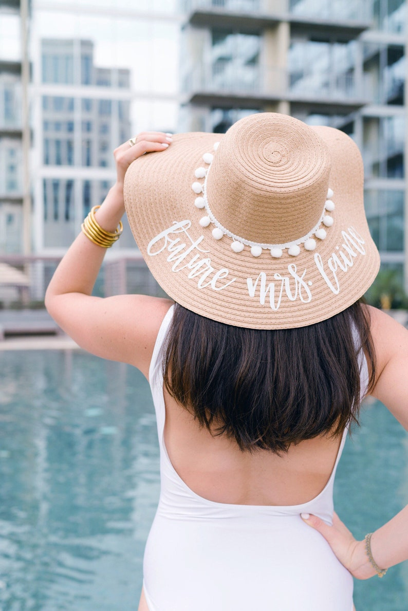 Custom White Pom Pom Floppy Beach Hat // Bachelorette Trip // image 0
