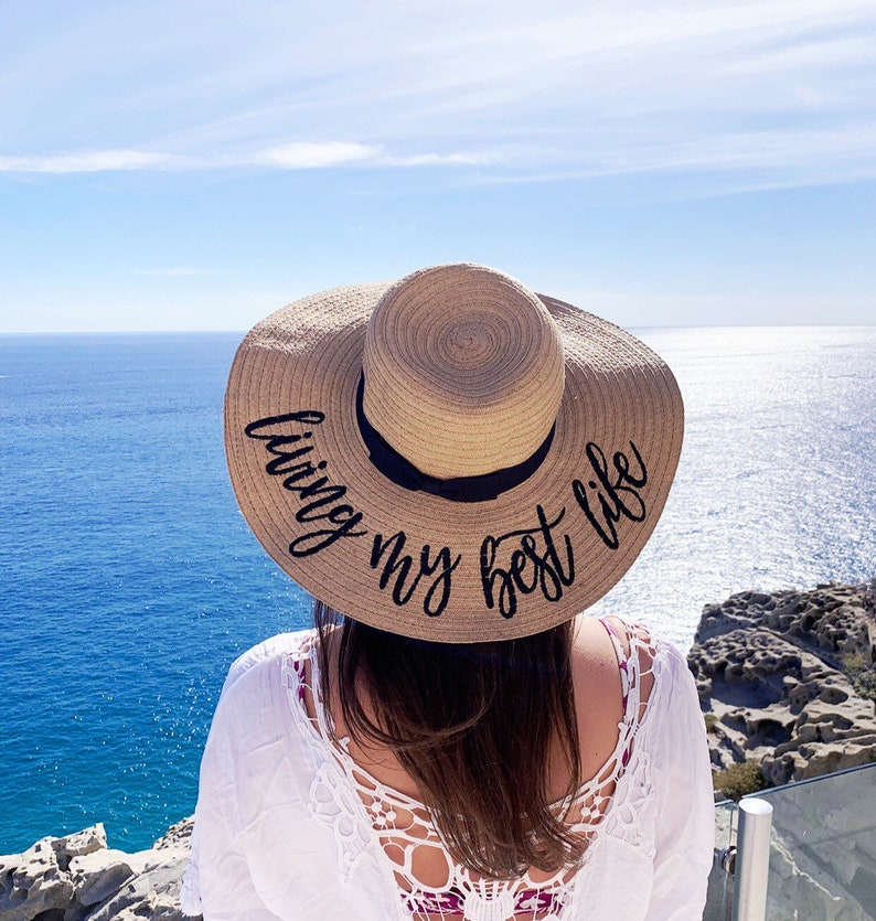63d1d788 Living My Best Life EMBROIDERED Floppy Beach Hat // | Etsy