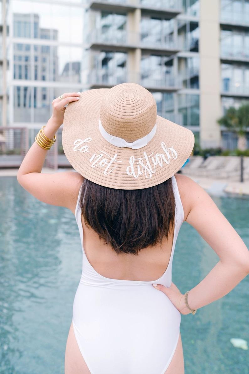 2f0edb10 Custom Saying White Ribbon Floppy Beach Hat // Bachelorette | Etsy