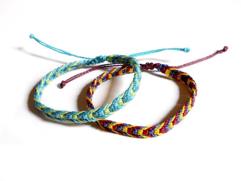 check-out f1472 ab51e Bracelet brésilien fil ciré tissé pour homme, bracelet amitié macrame  ajustable, bracelet surfeur tressé noueds