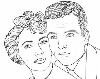 CUSTOM COUPLE PORTRAIT for Facebook and Twitter profiles. Hand-drawn sketch. Hi-Res.file: 1900 x 1900 pixels. The best gift.