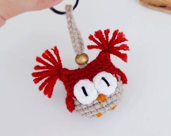 Christmas gifts for girls Owl keychain ornaments Christmas gifts for women Presents for her Red Gold Xmas Decorations Crochet charm Key ring