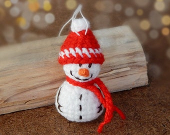 Christmas gift Snowman ornament Stocking stuffers fillers Small hostess gift Cozy home decor Warmth Christmas decoration snowman in red Gift