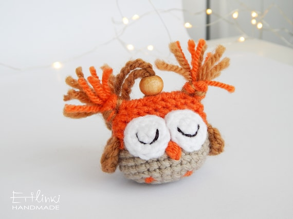 Owl ornament, Owl keychain, Owl gifts for women, Owl figurine, Amigurumi owl, Stuffed owl, Tiny owl, Christmas gifts for friends and family
