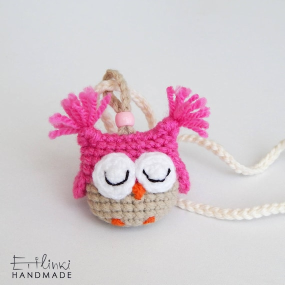 2in1 Children Gift. Pendant Necklace and Bookmark. Birthday Gift For Girls. Kids Jewelry. Pink Christmas Gift Idea. Crochet Owl.