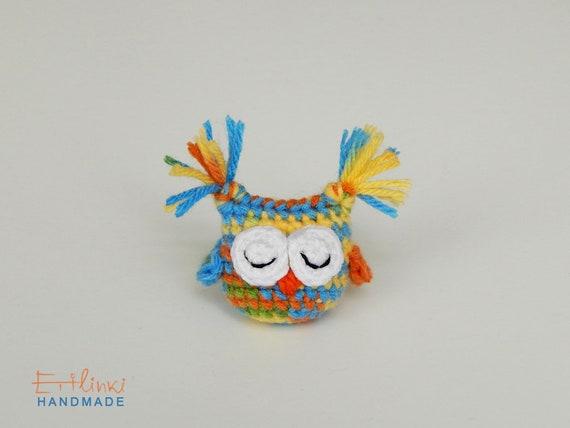Kids Jewelry, Owl Brooch, Kids Accessory, Childrens Jewelry, Little Girl Gifts for Birthday, Tiny Stuffed Animal, Crochet Amigurumi