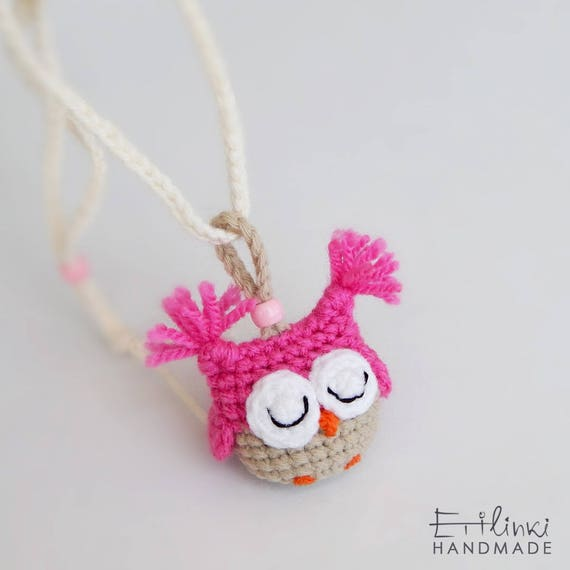 Crochet Necklace With Owl Pendant. Cool Gift For Girls. Bookmark. Children Jewelry Kids. Back To School Present. Christmas Gift Idea.