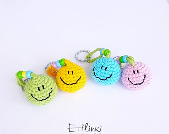 Smiley Face Keychain Emoji Keychain Happy Face Emoticon Keyring Cute Gifts For Friends Kawaii Bag Charm Stocking Stuffers Positive Gifts