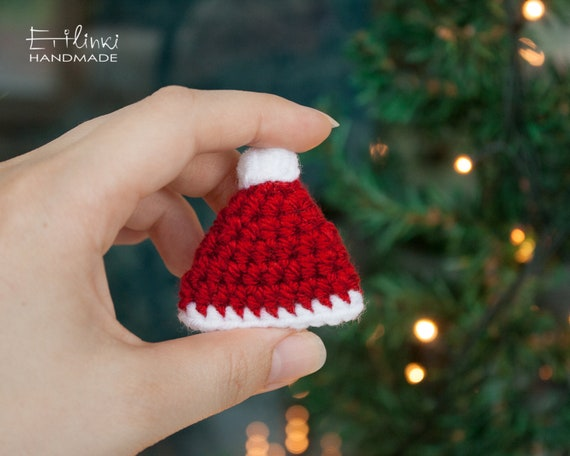 Crochet Santa Hat Brooch Christmas Jewelry New Year Party Etsy