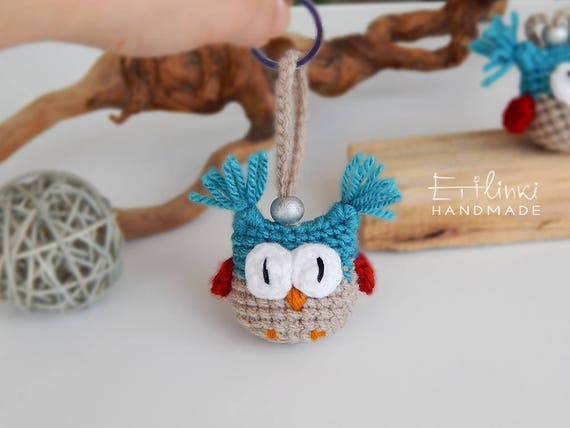 Kids Keychain, Cute Keychain, Amigurumi Owl Charm, Hanging Owl, Crochet Owl, Tiny Stuffed Toy, Kids Keyring, Christmas Gifts for Kids