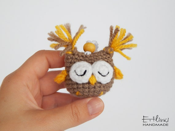 Sleeping Owl Keyring, Cute Keychains, Small Stuffed Animals, Owl Gifts