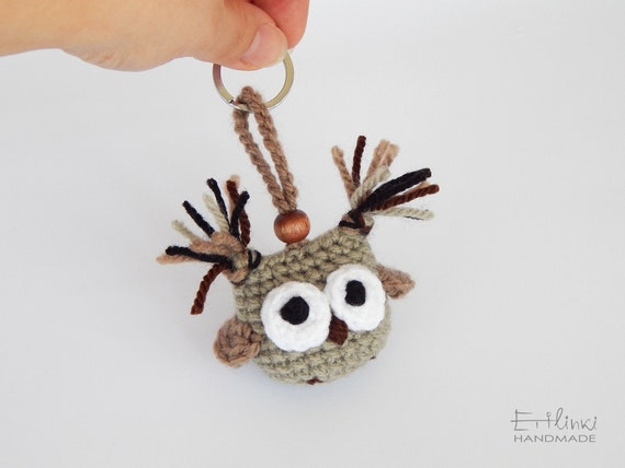 Handmade Keychain, Owl Keychain, Amigurumi Owl, Organic Gifts, Small Gifts For Men and Boys