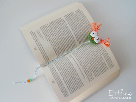 Cute Bookmark Amigurumi Owl. Gift For Book Lover Gift For Teacher. Preschool Gift. Student Gift. Funny Book Mark. Kids Book Accessories