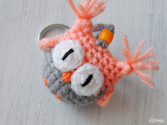 Cute owl keychain. Beautiful gift for her. Womens keychain. Cool key chain. Purse charm. Crochet ornament Owl hanging decoration. Soft owl