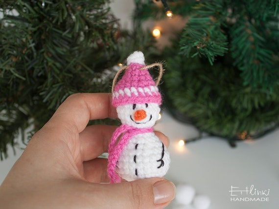 Snow Woman Christmas Ornaments Handmade Gifts For Her Crochet Snowman Miniature Holiday Decor Xmas Tree Decorations Gifts For Daughter Wife