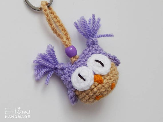 Handmade Keychain. Purple Owl. Gift For Girl. Crochet Bag Charm. Cute Girlfriend Gift For Young Woman Accessory Key ring Pendant