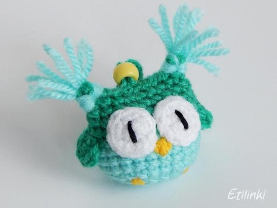 Green mint owl, Crochet keychain, Owl accessories, Amigurumi keyring, Kids gift, Children gifts, Owl Pendant, Owl Charm, Tiny owl