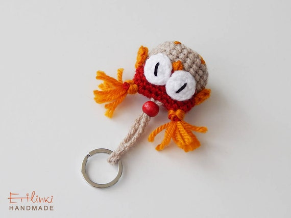 Keychain Women's Fall Accessory Crochet Gift For Girlfriend Fall Colors Gift For Girls Fall Fashion Autumn Gift Owl Charm Red Decoration