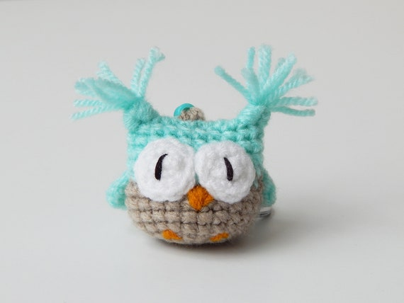 Toy Keychain, Amigurumi Owl Charm, Owl Keyring, Cool Gifts For Friends, Mint Bag Charm, Tiny owl, Small Gift Ideas, Affordable gift