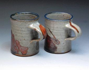 John Glick Plum Tree Pottery Small Stoneware Mugs, Hand Thrown Pottery Mugs, Collectible Mugs