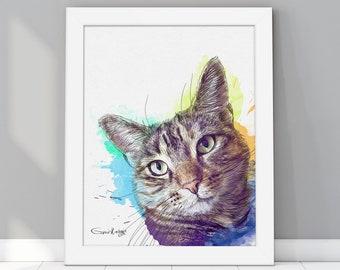Custom Cat Portrait, Pet loss gifts, Pet memorial gift, Portrait from photo, Custom dog painting, Pet commission, Dog portrait watercolor