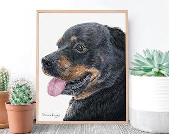 Dog Portrait Custom Portrait From Photo , Custom Dog Digital, Custom pet portrait, Rottweiler memorial, Digital cat portrait