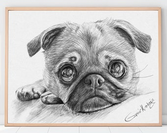 Custom Pet Portrait, Custom Dog Portrait, Custom cat portrait, Wall art, Dog memorial , Gift for her,  Mom Gift, Digital pet portrait