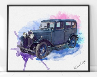 Custom Car Portrait, Best Gift for him, Boyfriend gift, husband gift, Fathers day gift, Car painting, Father's Day Personalized gift for men