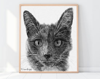 Cat lover gift, Custom cat portrait, Drawing From Photo, Dog lover gift, Step mom gift, Godmother gift, Sympathy gift, Gift for mom