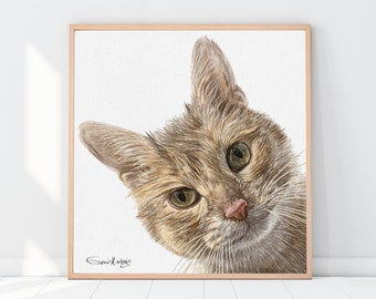 Custom cat portrait | Custom dog portrait | Custom Pet Portrait | Personalized gift | Portrait from photo | Drawing from photo, Cat drawing