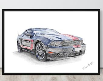 Car Guy Gift, Gift For Husband, Drawing from photo, Gift for boyfriend, Secret santa gift, Boss gift, Holiday gift, Funny christmas