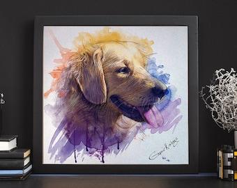 Custom Pet Portrait | Pet Portrait Watercolor, Custom dog portrait | Custom cat portrait, Digital pet portrait,Pet Memorial