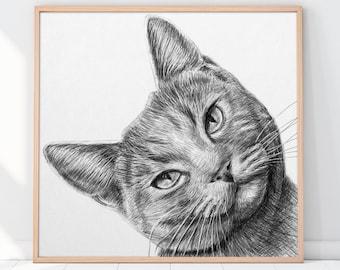 Custom Cat Portrait, Personalized Gift, Gift for her, Custom dog portrait, Custom pet portrait, Cat Portrait Custom, Wall art