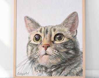 Custom Cat Drawing Gift for pet lovers |  Cat Portrait Custom and Pet Portrait for dog lover gift | Pet portrait custom