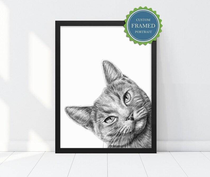 Custom Pet Portrait  Cat Portrait Custom  Custom pet drawing image 0