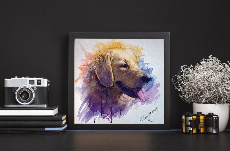 Custom Pet Portrait  Pet Portrait Watercolor Custom dog image 0