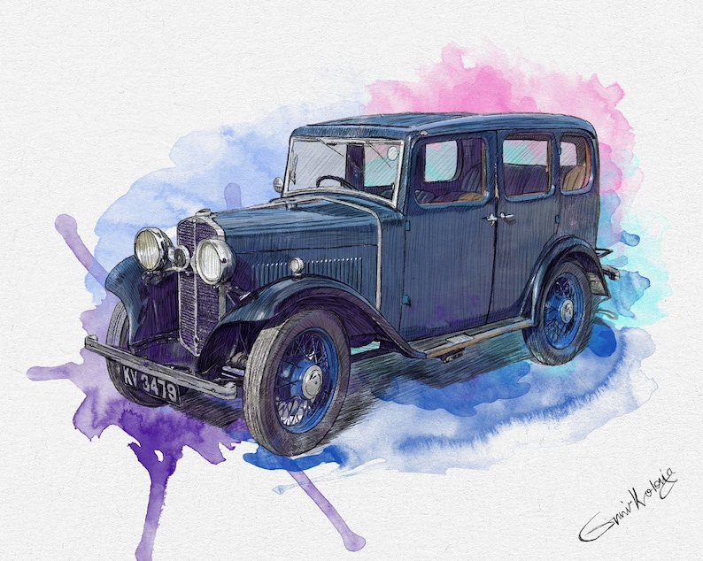 Custom Car Portrait Father's Day Personalized gift for image 0