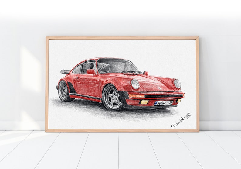 Car drawing art Father's Day Car guys gift Gift for car image 0
