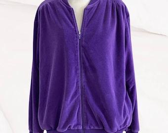 Vintage velour track jacket purple shoulder pads M
