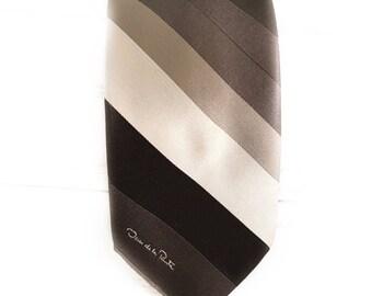 Vintage Oscar de la Renta Silk brown striped neck tie