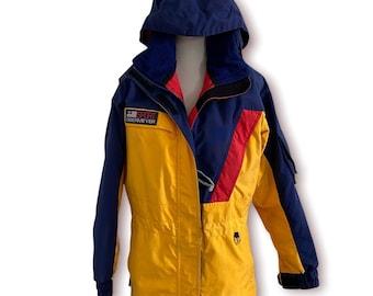 Vintage obermeyer women's ski coat yellow blue red hooded 1999